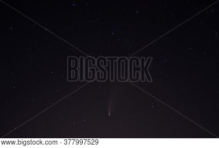 Comet Neowise In The Black Starry Night Sky. The Sky Of The Northern Hemisphere At Night, Various Co