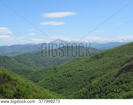 Pyrenees Mountain Landscape On Camino De Santiago Frances - Pilgrimage Route From France To Spain, G