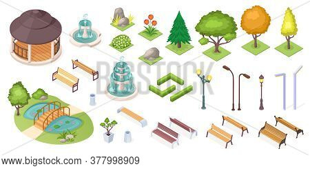 Park Trees And Landscape Elements Set, Isolated Isometric Icons. Park And Garden Landscaping Constru