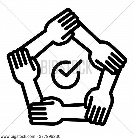 Teamwork Hands Icon. Outline Teamwork Hands Vector Icon For Web Design Isolated On White Background