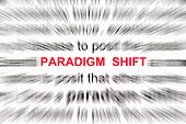 paradigm shift concept with focus on the word paradigm shift. poster