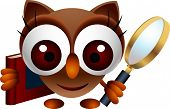 vector illustration of cute owl with magnifying glass and book poster