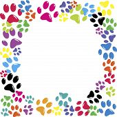 Frame made of animal paws over white background poster