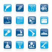 Fishing industry icons - vector icon set poster