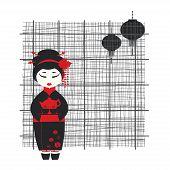 Vector illustration of a geisha girl . Tea ceremony poster