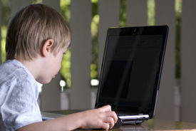 Boy Child Looking At Laptop Screen