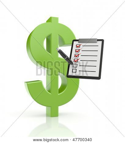Dollar sign with clipboard and pen
