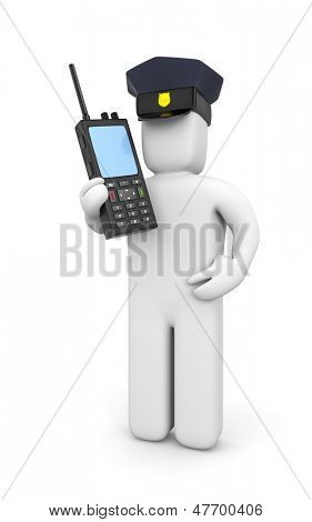 Policeman with portable radio transmitter