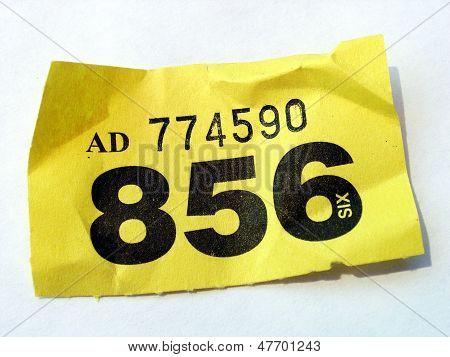 Crumpled raffle ticket