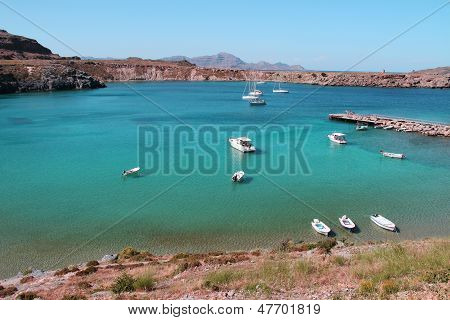 Beautiful sea bay with boats