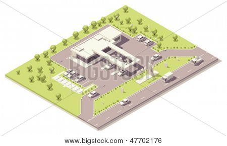 Isometric fueling station building