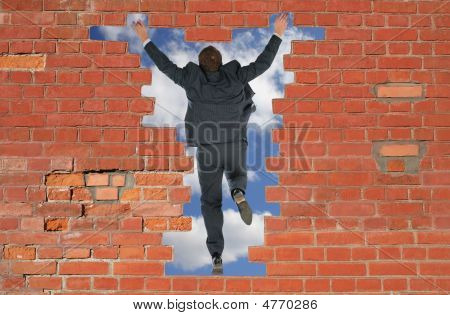 The person has jumped through a brick wall poster