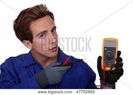 Electrician with meter reader