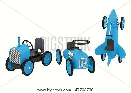 Toy Rocket, Tractor, Roadster Like Cars Collection