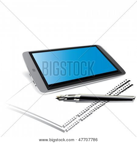 Stock  modern digital tablet with papers and pen.