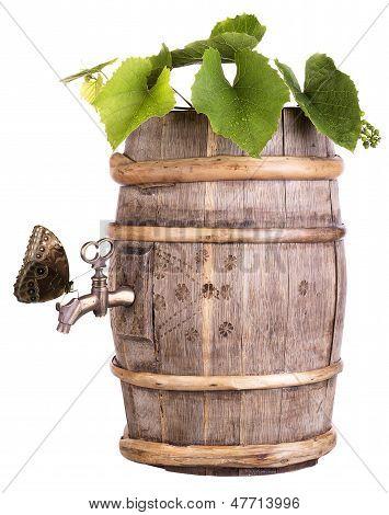 Grapes On A Wooden Vintage Barrel