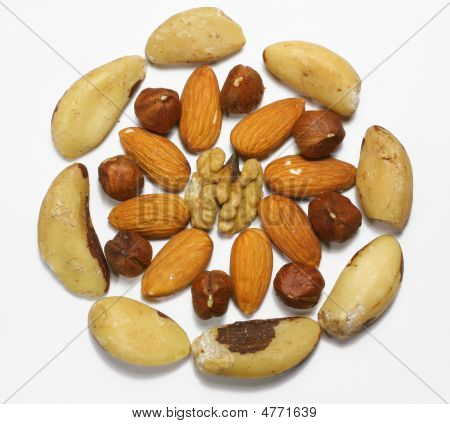 Mix Of Nuts Arranged As Rosette