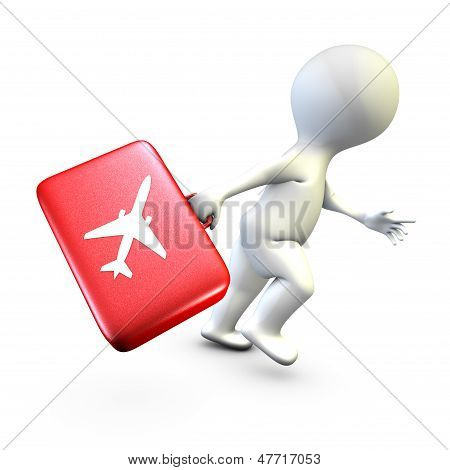 A character running to catch his flight