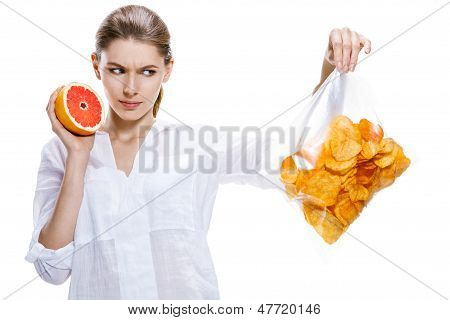 healthy brunettes against the chips - isolated on white background