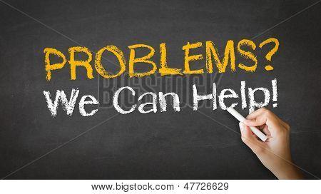Ilustração do giz problemas, nós podemos ajudar