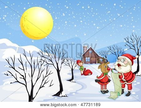 Illustration of a reindeer beside Santa Claus with his list
