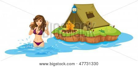 Illustration of a sexy girl swimming near the island with a camping tent on a white background