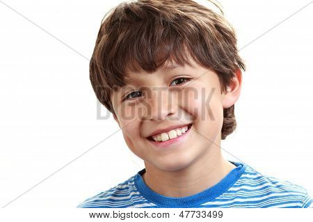 Portrait Of Young Boy On White Background