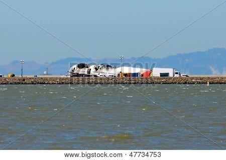 Asiana Airlines Flight 214 after crash landing at San Francisco Airport July 6, 2013