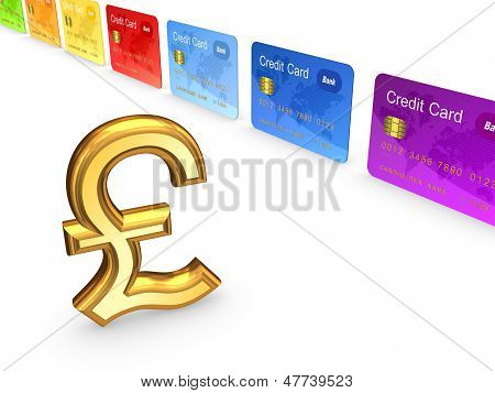 Pound sterling and colorful credit cards.