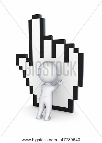 3d small person and cursor.
