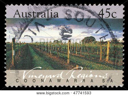 AUSTRALIA - CIRCA 1992: A Stamp printed in AUSTRALIA shows the Coonawarra, Vineyard Regions, South Australia, series, circa 1992