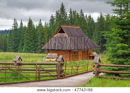 Traditional wooden hut in Tatra mountains, Poland