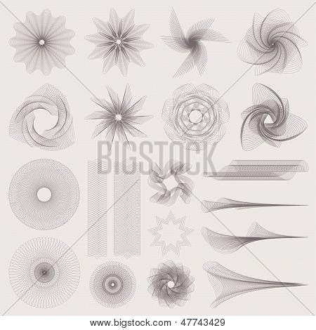 Guilloche pattern (watermarks) for banknote, money design, currency, cheque, check, voucher
