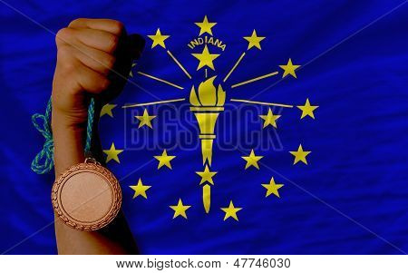 Bronze Medal For Sport And  Flag Of American State Of Indiana