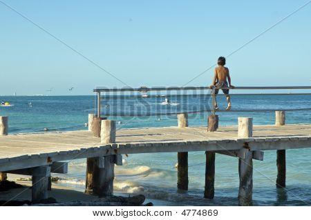Mexican Boy On  A Wharf