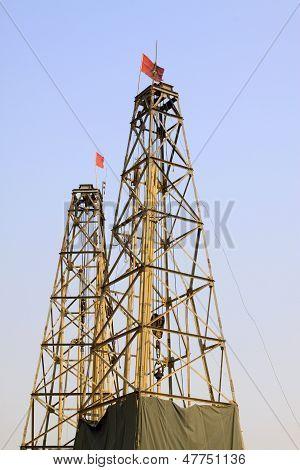Drilling Derrick In A Iron Mine