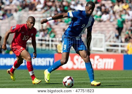 PASADENA, CA - JULY 7: Frederic Piquionne #9 during the 2013 CONCACAF Gold Cup game between Canada and Martinique on July 7, 2013 at the Rose Bowl in Pasadena, Ca.