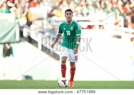 PASADENA, CA - JULY 7: Marco Fabian #10 of Mexico during the 2013 CONCACAF Gold Cup game between Mexico and Panama on July 7, 2013 at the Rose Bowl in Pasadena, Ca.