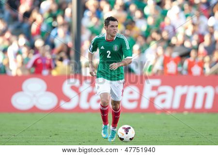 PASADENA, CA - JULY 7: Israel Jimenez #2 of Mexico during the 2013 CONCACAF Gold Cup game between Mexico and Panama on July 7, 2013 at the Rose Bowl in Pasadena, Ca.