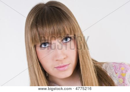 Pretty blue eyes girl portrait.Side look and faling in love. poster