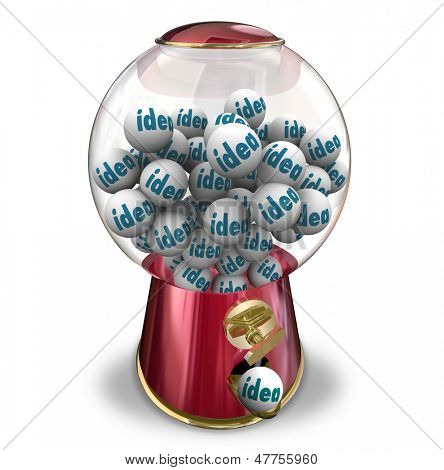 The word Idea on gumballs in a machine dispensing innovative thoughts, creativity, imagination and thoughts