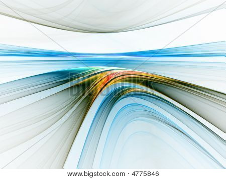 Abstract illustration of colorful linear horizon stretching off to infinity poster