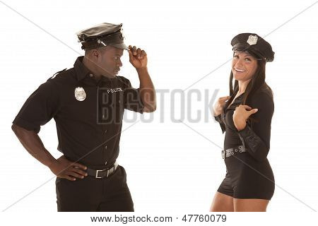 Man And Woman Cop Him Look At Her