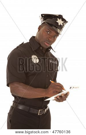 Policeman Writing Ticket Serious