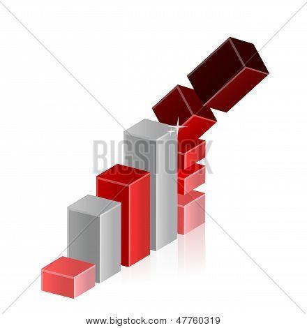 Fallende Krise Business Bar-Diagramm