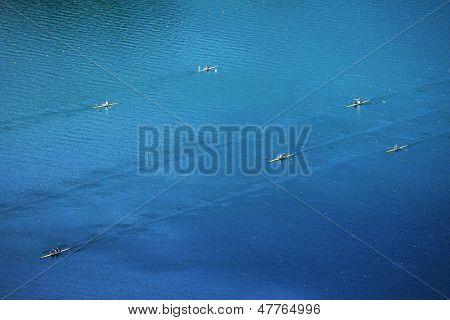 Canoe training on Bled Lake, Slovenia, Europe