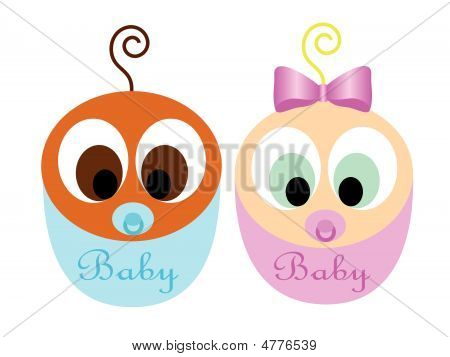 Cute Interracial Babies Vector
