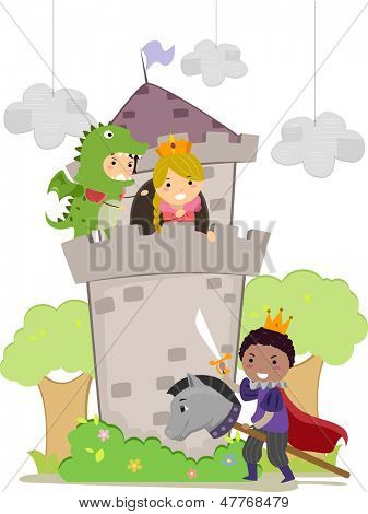 Illustration of Stickman Kids plays Dragon, Prince, and Princess in School Play