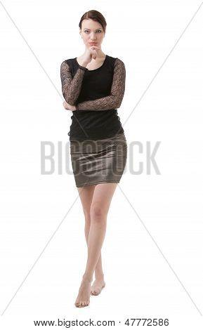Stylish Barefoot Woman In Black