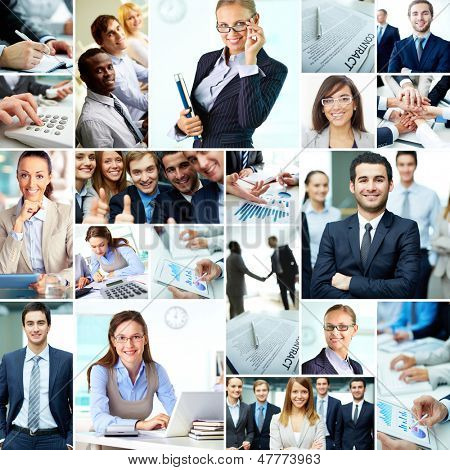 Collage of smart businesspeople, business objects and hands of co-workers